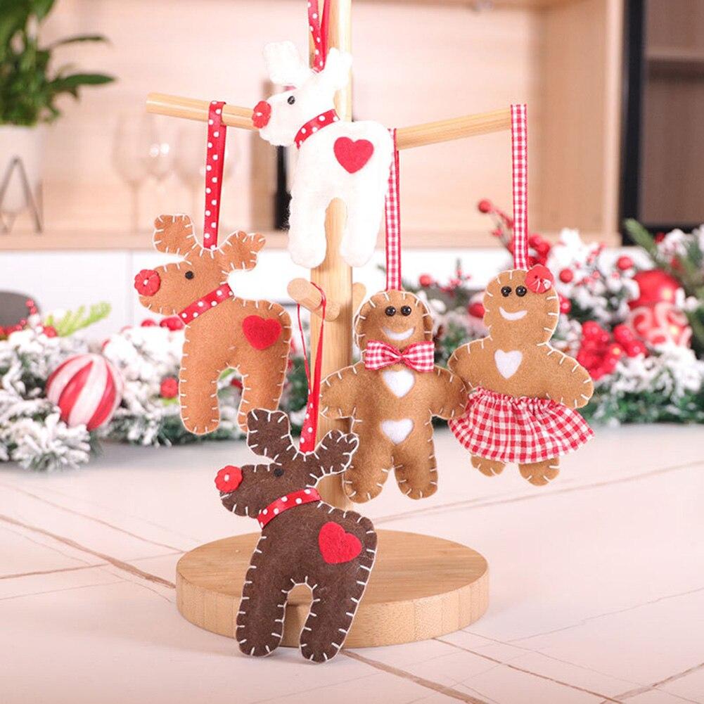 Árvore de natal ornamentos elk gingerbread pingente feliz ano novo decorações de natal para casa natal acessórios decorativos