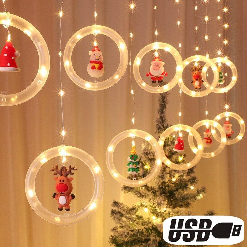 Christmas 2021 Led Lights Ornaments Fairy Garland Curtain New Year 2022 Navidad