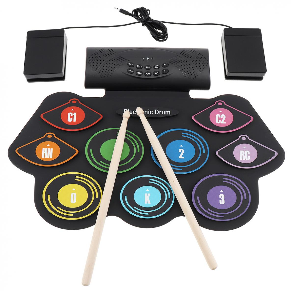 9 Pads Electronic Roll up Silicone Drum Double Speakers Electric Drum Kit Support USB MIDI with Drumsticks and Sustain Pedal enlarge