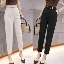 Suit Pants for Women Straight High Waist Cropped Loose Slimming Casual Small Trousers Slim Fit Skinn