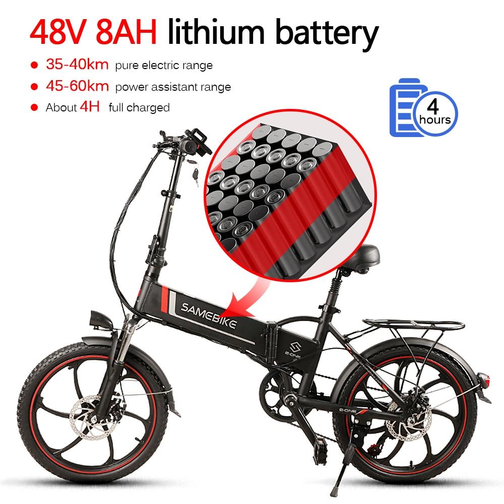 Electric Bike Bicicleta 20 Inch 350W 4.0 Electric Bike Beach Cruiser Booster Bicycle Folding 48v 10.4AH lithium Battery Ebike