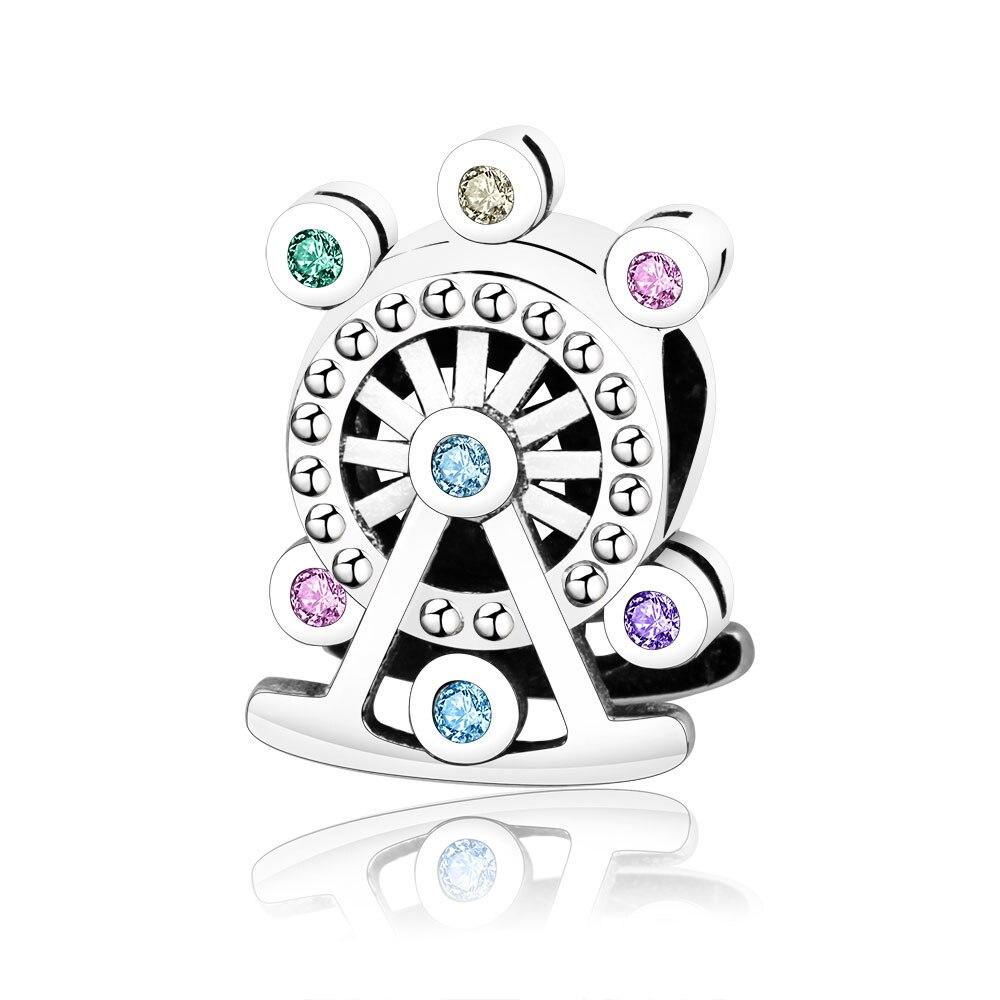 Fit Original Pandora Charms Bracelet 100% 925 Sterling Silver Ferris Wheel Charm Bead Multi-Colored Crystal DIY Jewelry Berloque
