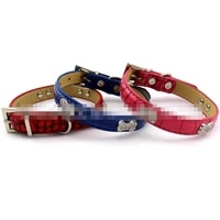 dog tag collar personalized pet puppy name tag collar rhinestone crocodile pattern leather collar pu pet supplies