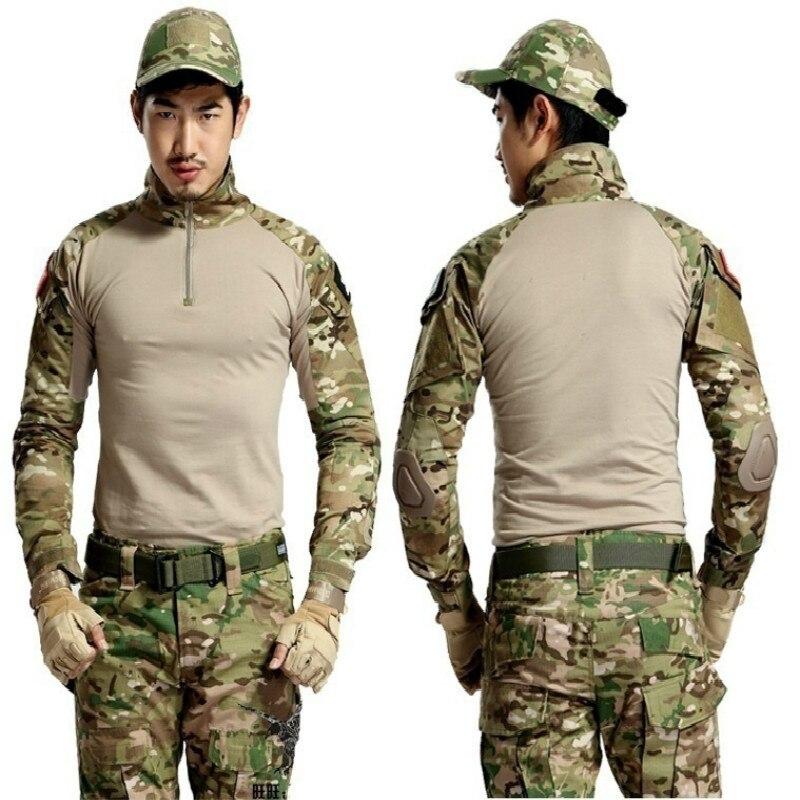2019 marke Mann Multicam T-shirts Armee Camouflage Kampf Taktische T Hemd Military Männer Langarm T-Shirt Jagd Military T-shirts