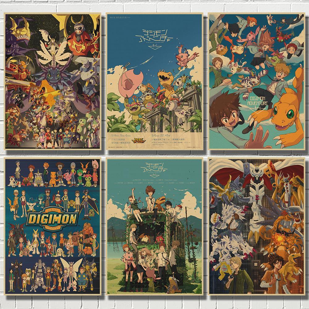 Digimon классический японский аниме настенная живопись печать крафт-бумага постер украшение дома декоративные постеры