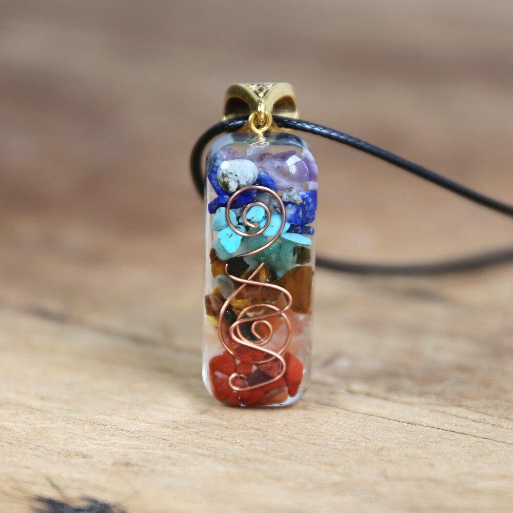 Collar con colgante Natural de 7 Chakras Orgone Energy para mujer, collar con piedras de Chakra para protección EMF