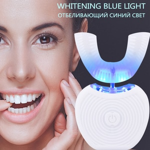 360 Degrees Intelligent Automatic Sonic Electric Toothbrush U Type 3 Modes ToothBrush USB Charge Toothbrush Whitening Blue Light