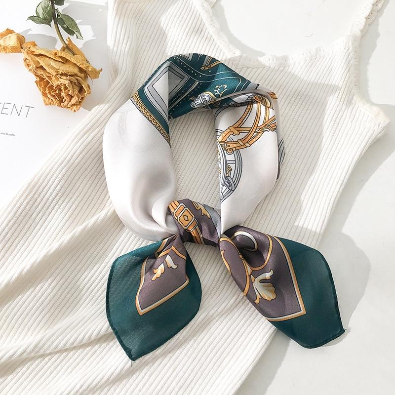 Women Silk Scarf Square Neck Shawls Foulard Lady Pashmina Solid Geometric Bandana Hair Band Kerchief Luxury Designer Silk Scarf