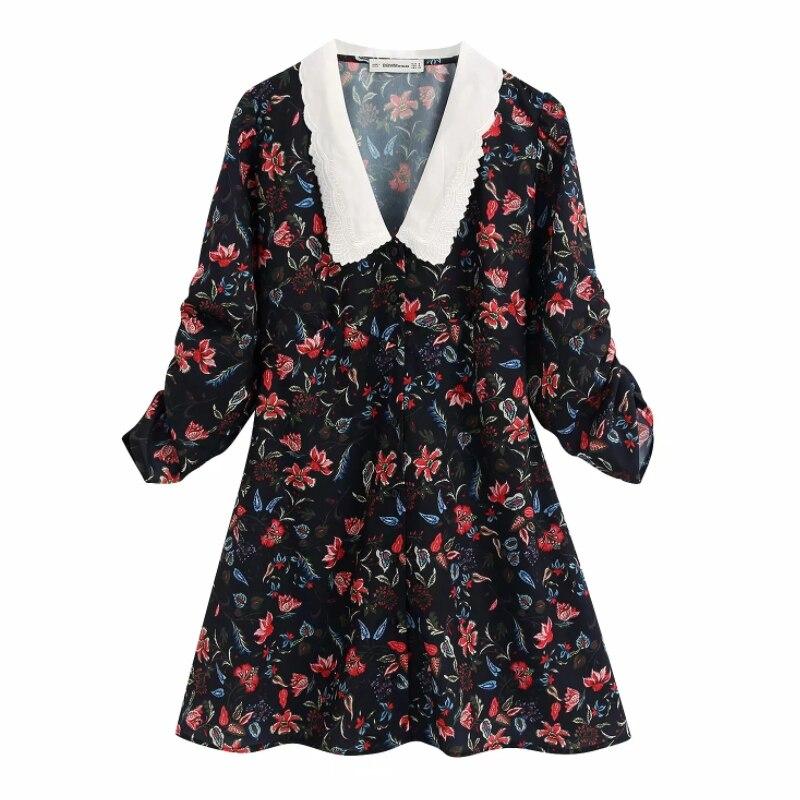 Fleur impression broderie col rabattu femmes Mini robe ample 2020 nouvelle mode décontracté dame neuf quarts manches robes D5099