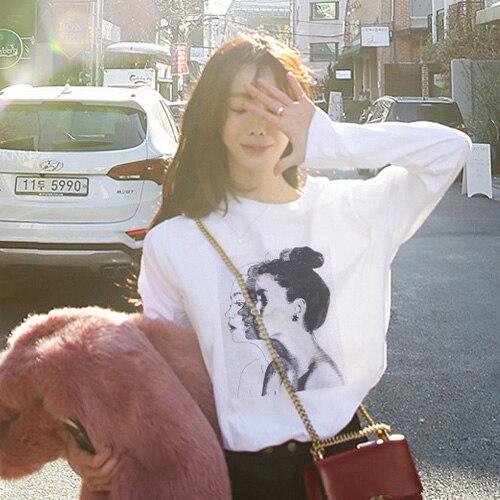 Women's Long-Sleeved T-shirt 2021 New Korean Style Autumn Clothing Winter Loose Top Versatile Cotton