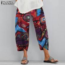 ZANZEA Summer Floral Printed Pants Vintage Bohemian Cotton Wide Leg Trousers Women Casual Elastic Waist Harem Pantalon Turnip