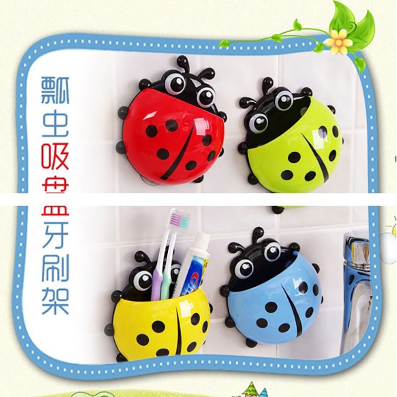 Cute Ladybug Toothbrush Holder Suction Ladybird Wall Sucker Toothbrush&Toothpaste Storage Household Bathroom Supplie Cup