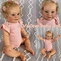 60cm50cm reborn toddler popular rebirth baby with rooted blonde hair romper bodysuit cuddle body high quality handmade dolls