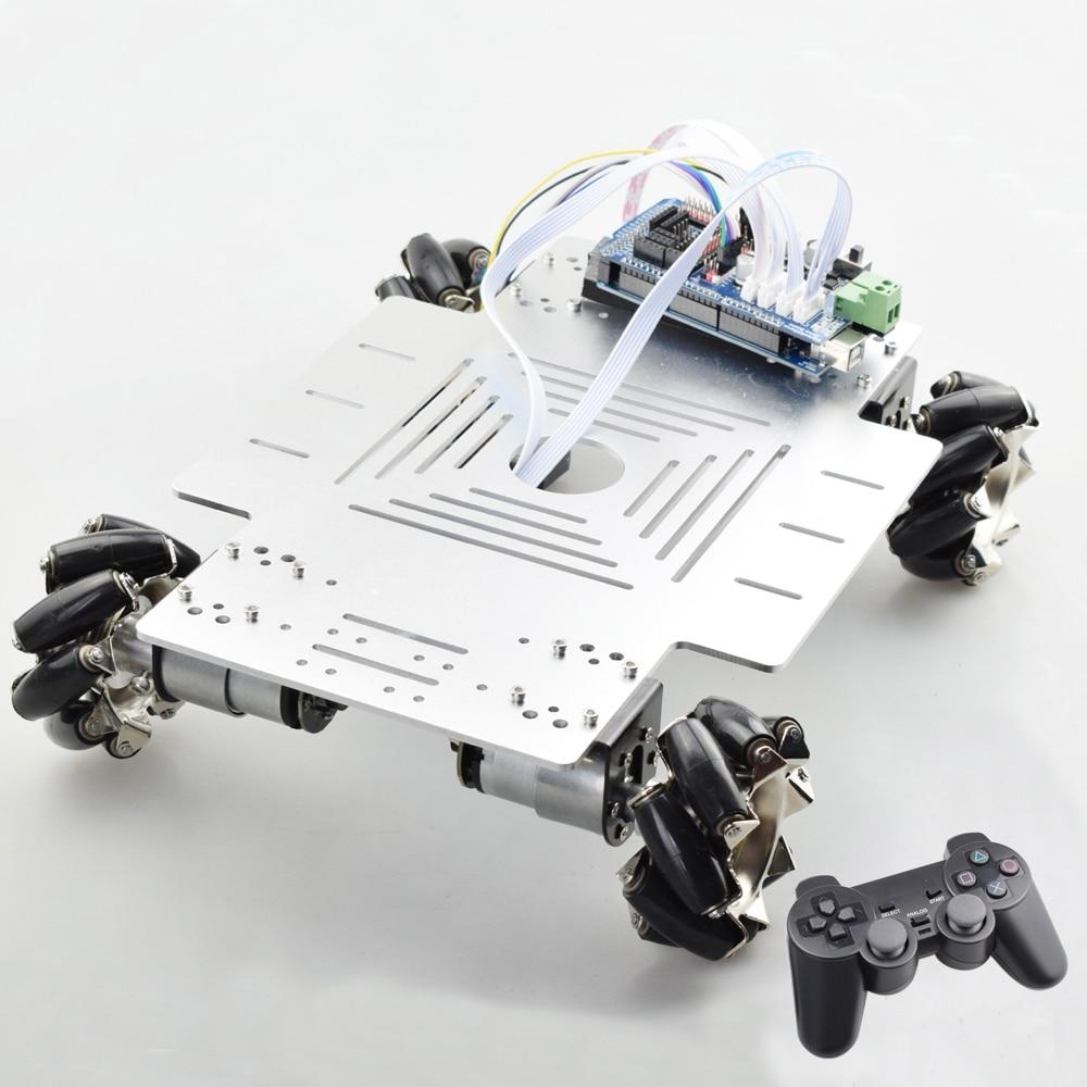 25 كجم حمولة كبيرة الذكية RC ميكانوم عجلة سيارة روبوت هيكل عدة منصة أومني مع PS2 Mega2560 تحكم لمشروع اردوينو