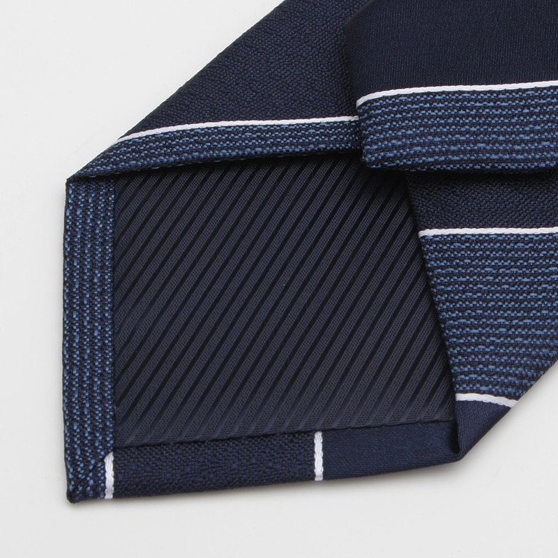 High Quality 2020 Designer New Fashion White Pinstripe Blue 8cm Ties for Men Necktie Work Business Formal Suit with Gift Box