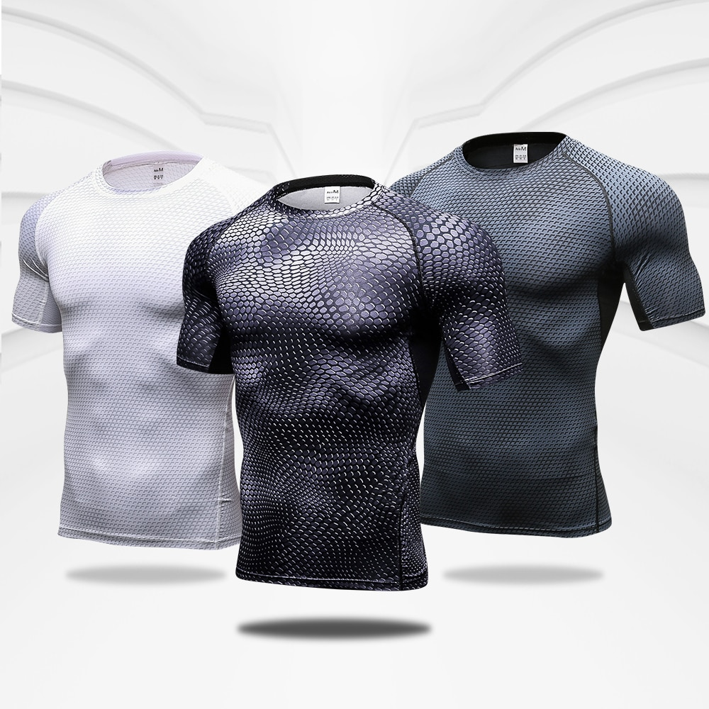 Quick Dry Workout Running Shirt Compression Fitness Tops Breathable Jersey Gym T-shirts Clothing Rashguard Male Sport Shirts Men недорого