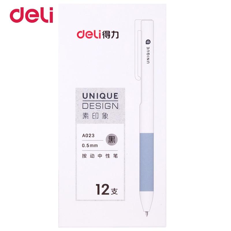 Deli  0.5MM 3pcs cute Stationery Student Pen press Gel Pen Full Needle Black Ink Pen School Supplies Office Supplies