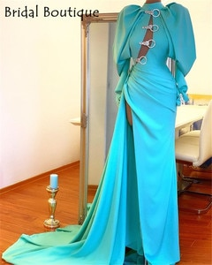 Fashion Long Evening Dresses 2021 High Neck Prom Gowns With Full Sleeves Formal Party Dress High Split
