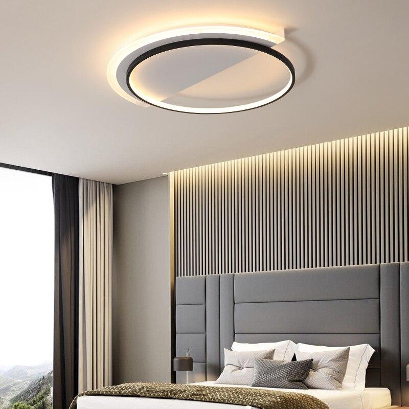 Круглые светодиодные потолочные светильники для спальни, современные металлические подвесные лампы, черные, белые комнатные светильники с...