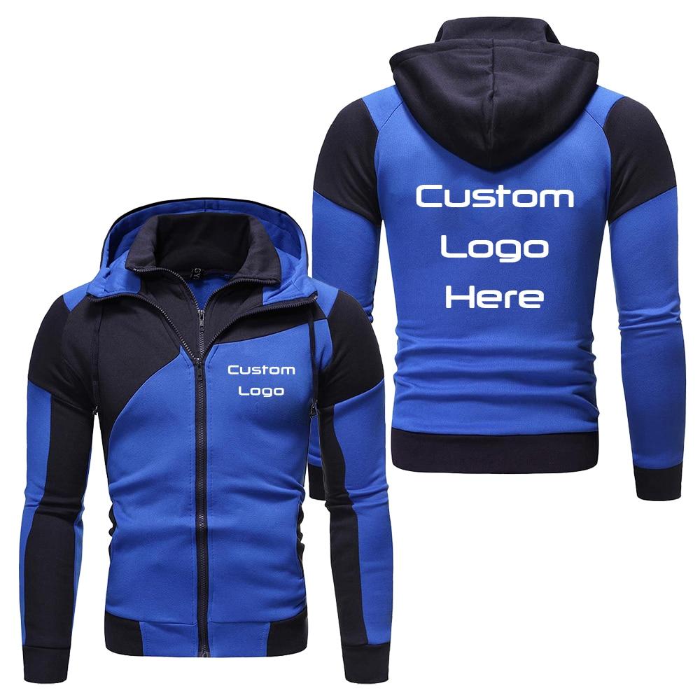2020 New Arrival Casual Hoodie Custom Logo Picture Men Hoodies Fashion Patchwork Color Men Zipper Coat Jacket clothing