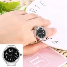 8 color Fashionable Round Elastic Quartz Finger Ring with watch Female Ring Students Fashion Classic