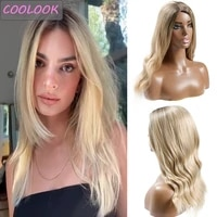 honey blonde wavy wigs for women ombre blonde water wave wig middle part synthetic fibre fake hair body wave cosplay lolita wigs