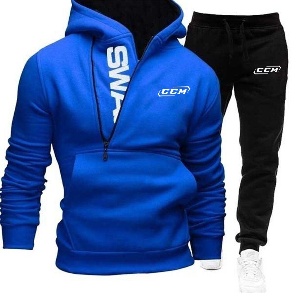 Мужской спортивный костюм CCM с принтом логотипа 2021, комплект из 2 предметов, свитшот + спортивные штаны, толстовки на молнии с кулиской, Мужск...