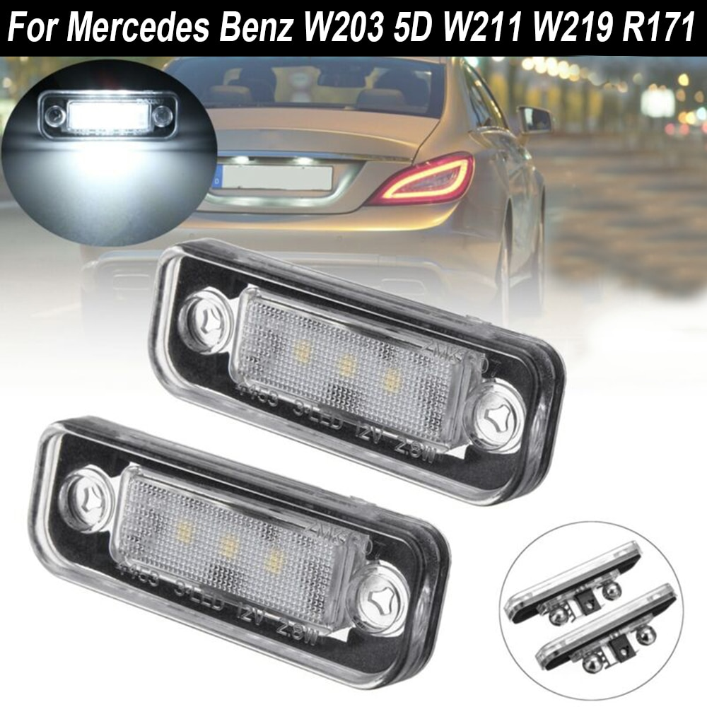 2pcs Car LED License Plate Light Lamp Canbus For Mercedes-Benz C/E Class CLS SLK W203 5D W211 W219 R