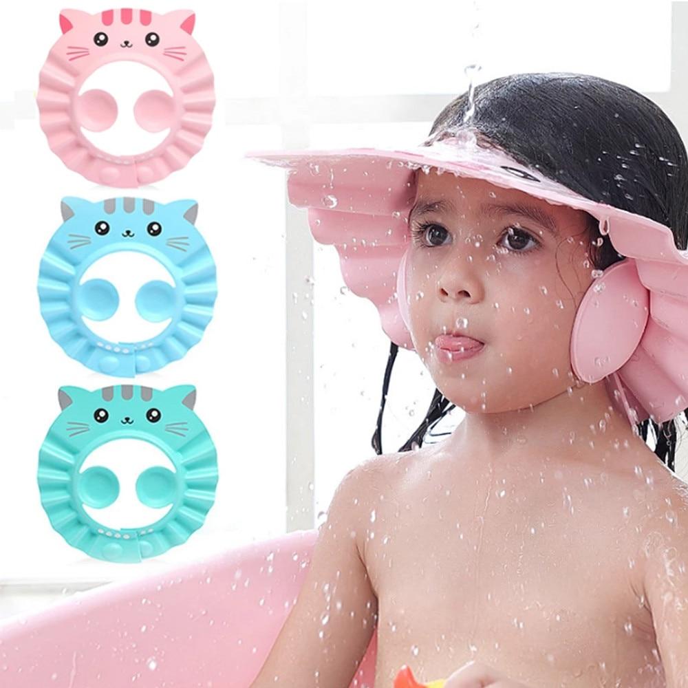 Baby Shower Cap Adjustable Hair Wash Hat for Newborn Infant Ear Protection Safe Children Kids Shampo