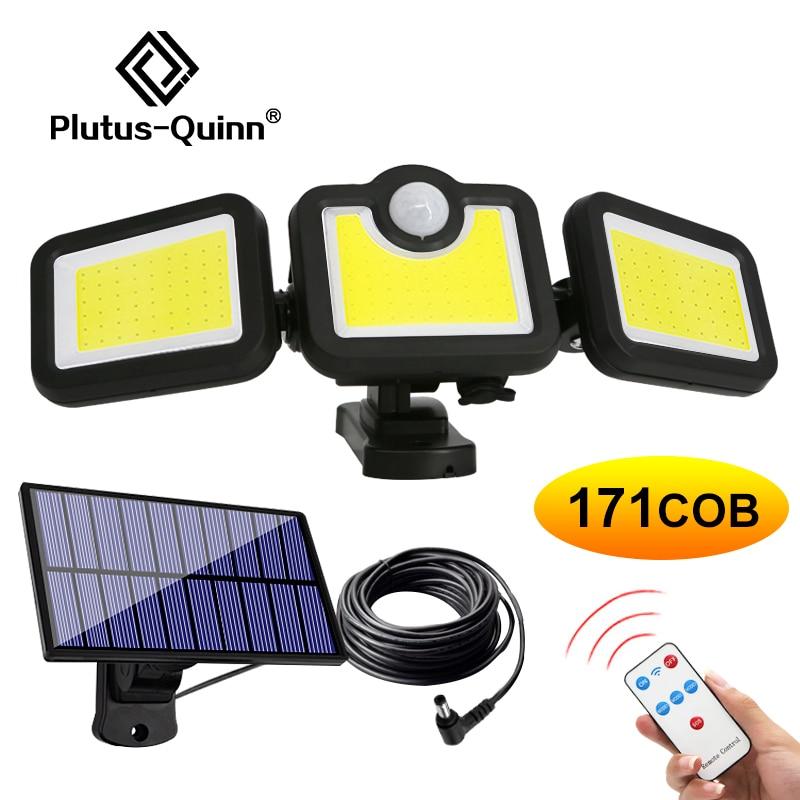 171 COB Solar LED Light Outdoor 3 Head Motion Sensor 270 Wide Angle Illumination Waterproof Lights W