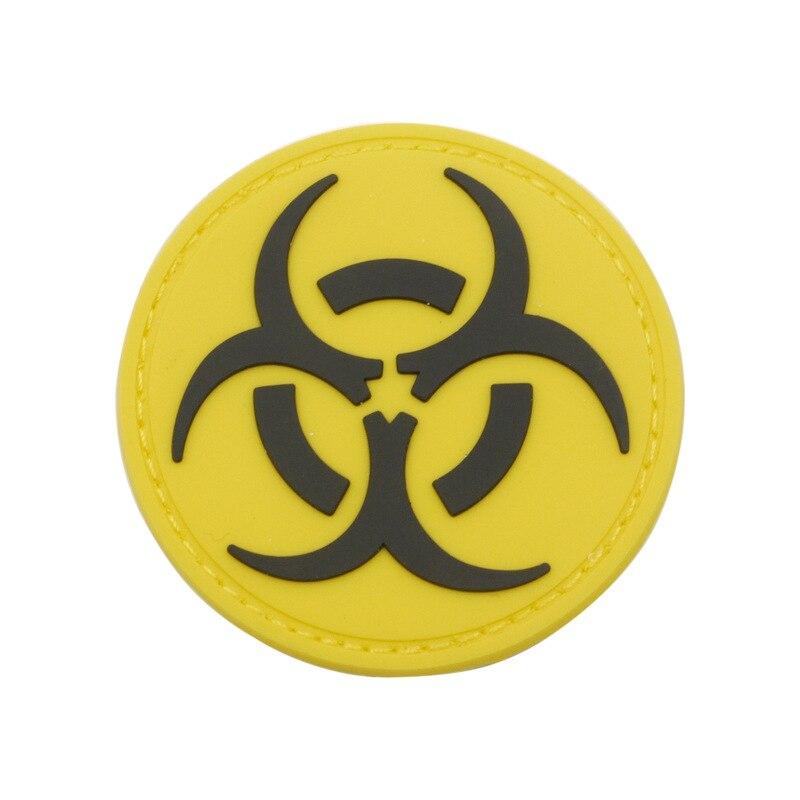 Riesgo biológico radiación símbolo parche peligro veneno tóxico advertencia apliques, parche Badbe para chaqueta y mochila