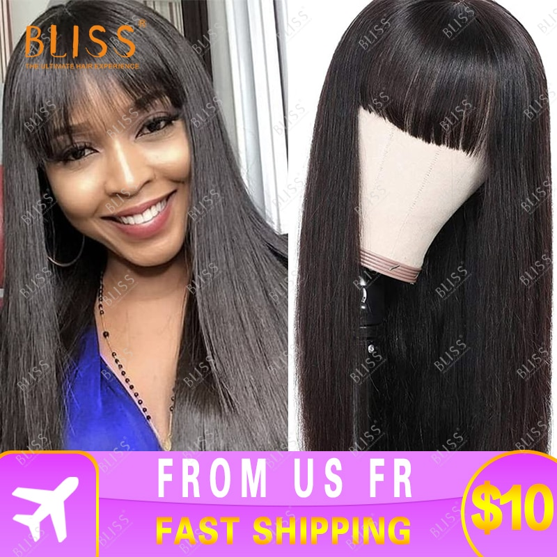 Bliss Straight Hair Wigs with Bangs Brazilian Human Hair Wigs Long Wig with Bangs Human Hair Wigs  f