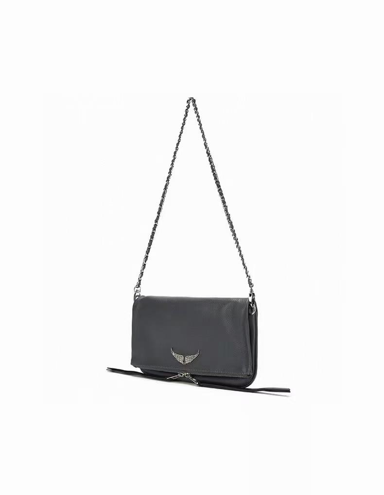 Women Black Leather Messenger Bag Lady One-Shoulder Fashion Zipper Wings Rhinestone Decoration Handbag 2021 New
