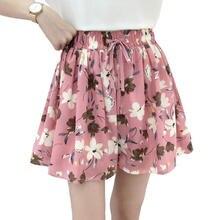 Summer Shorts Skirts Womens Print Chiffon High Waist Short Shorts Female Beach Wide Leg Mini Skirt Shorts Women Clothing Q2574