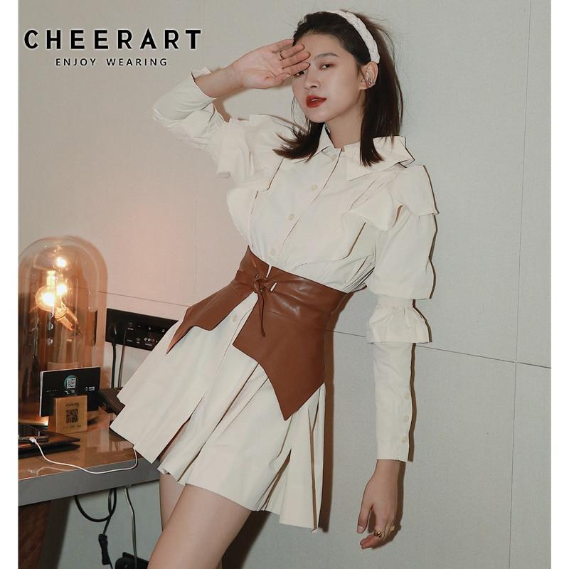 CHEERART Autumn 2020 Ruffle Long Sleeve Shirt Dress Women Beige Button Up Collar Mini Dress Tunic Puff Sleeve Fashion Dress