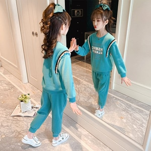 2021 Fashion Spring Autumn Girls Clothes Set Green Long Sleeve Letters Print Sweatshirt Pants 2pcs Casual Student Clothing Suit