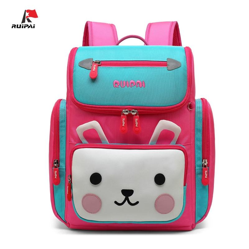 Polyester Reflective Strip Zipper Children School Bag Cartoon Cute animal Pattern Kid Bookbag Boy Girl Backpack Mochila Escolar