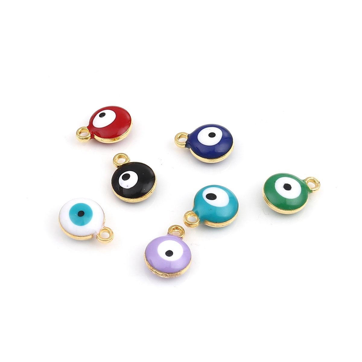 20 pièces émail mauvais œil breloques alliage à base de Zinc religieux breloques rondes couleur or couleur argent pour bijoux à bricoler soi-même faisant 13*10mm