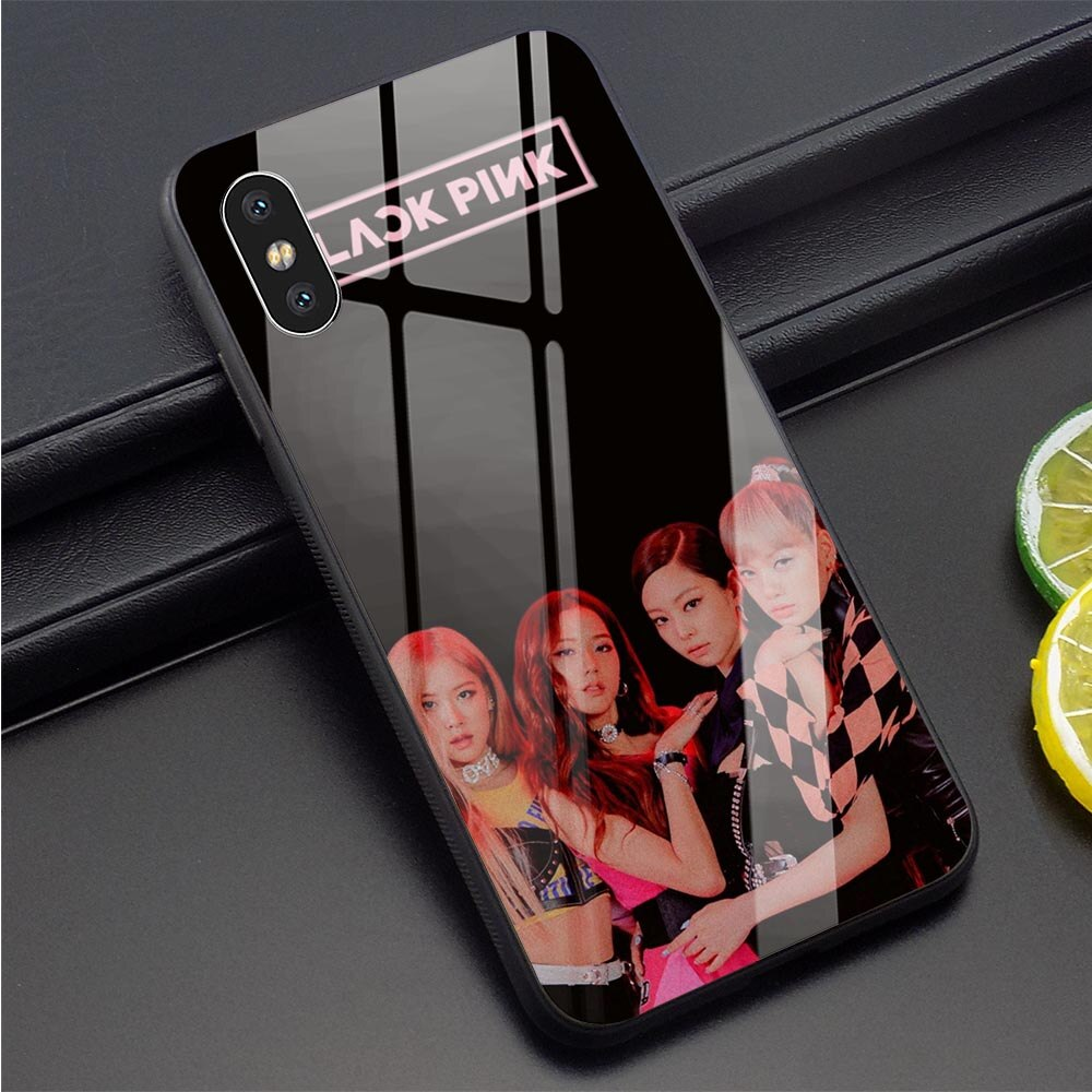 Funda de teléfono de cristal templado Korea Kpop Blackpink para iPhone 5, carcasa delgada para 6 6S 7 8 Plus X Xs XR 11 Pro Max 5 5S SE suave