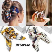 New Chiffon Bowknot Elastic Hair Bands For Women Girls Pearl Scrunchies Headband Hair Ties Ponytail Holder Hair Accessories gift