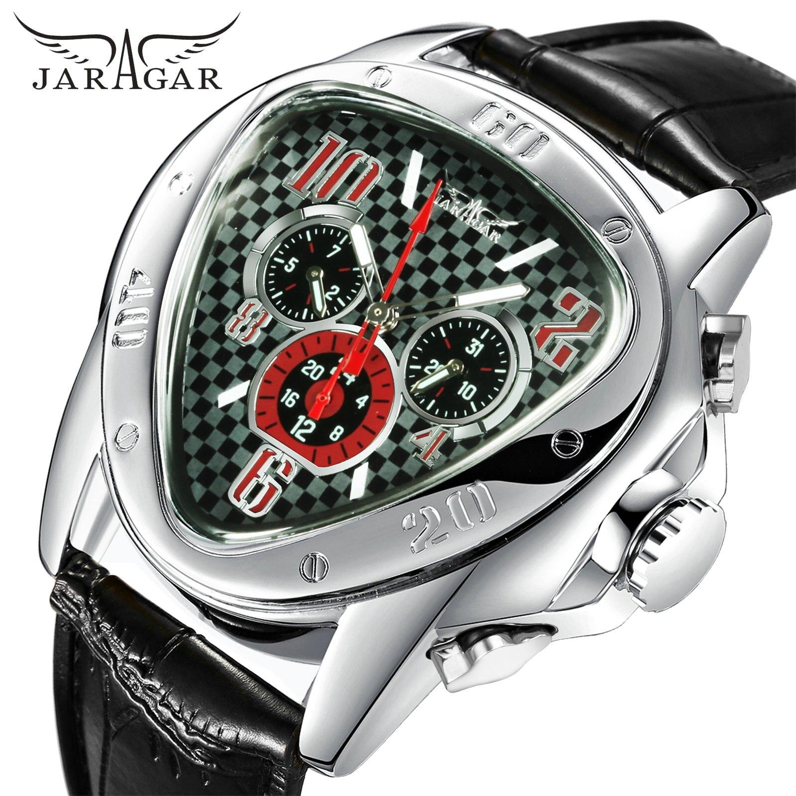 Novo 2020 marca de topo jaragar triângulo relógios masculinos moda luxo masculino relógios de pulso mecânico automático 3 sub-mostradores 6 mãos klok