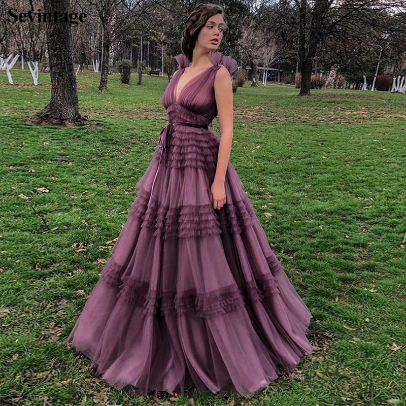 Sev vintage-فستان سهرة طويل بخصر إمبراطوري ، موديل A Line ، تول ، ياقة عميقة على شكل V ، بلا أكمام ، مطوي ، ثوب حفلة ، بنفسجي ، مقاس كبير ، 2020