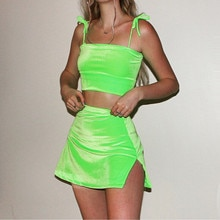 Fashion Lady Spagehtti Strap Two Pieces Sets Women Summer Velvet Women Sets Plus Size Sleeveless Short Tops Skirts