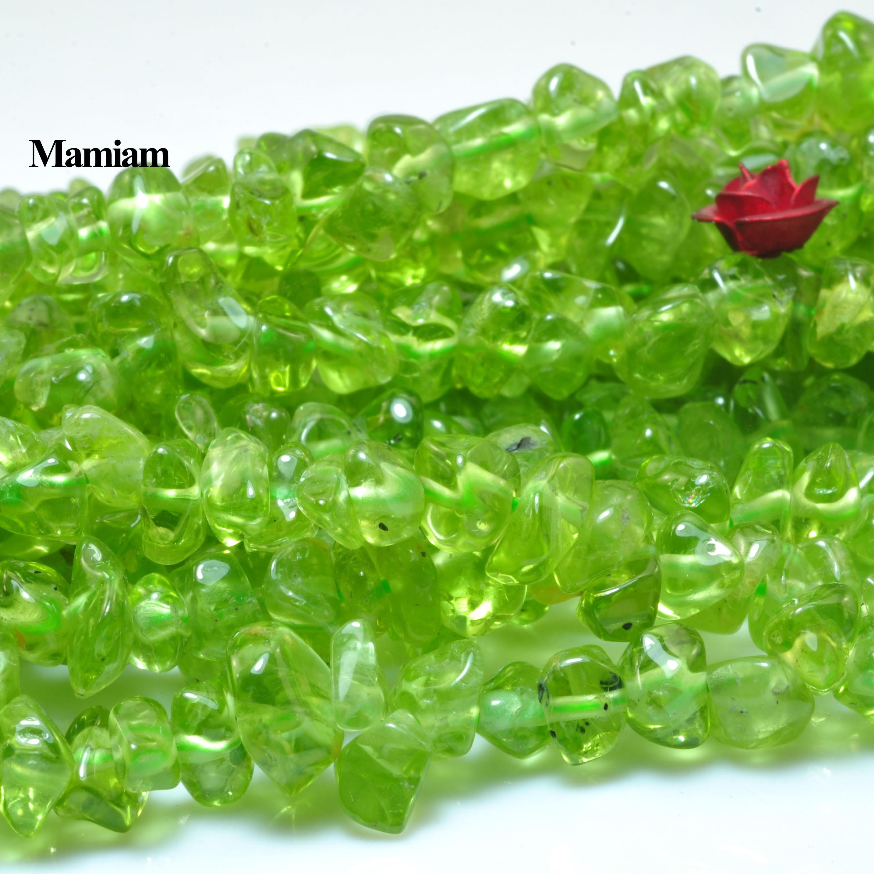 Mamiam, perlas de grava facetadas de peridoto verde Natural, piedra suelta de 5-9mm, pulsera Diy, collar, fabricación de joyas, diseño de regalo Gemstome