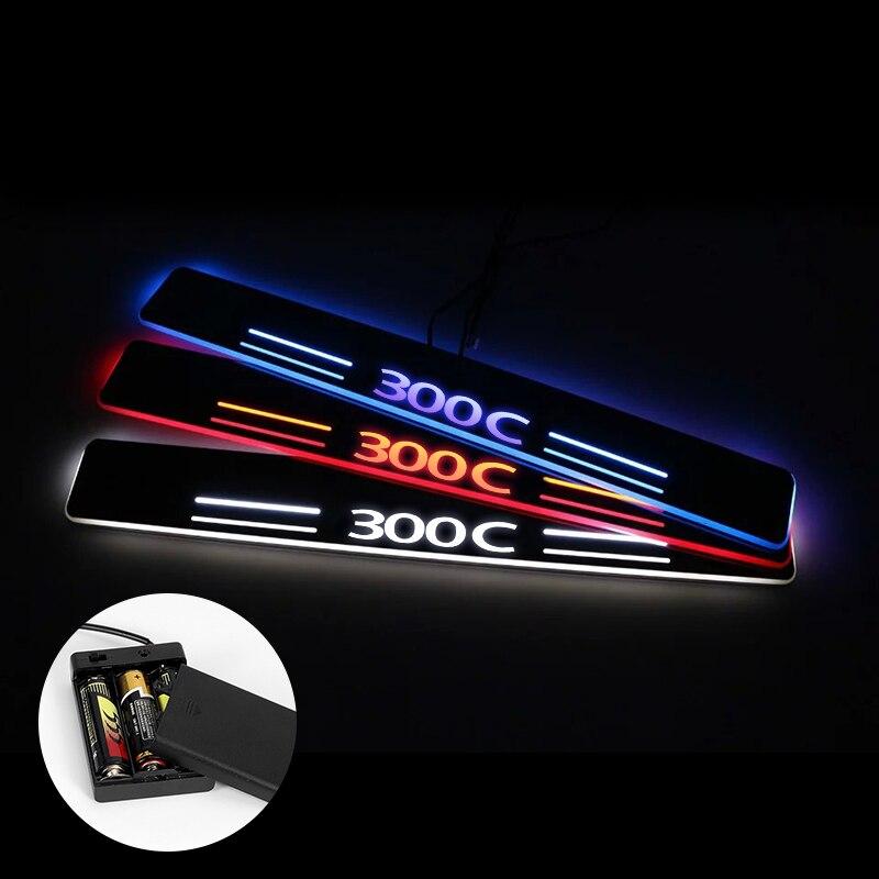 LED Umbral de puerta para Chrysler 300 300C SRT8 SRT-8 2005 - 2018 se transmiten luz desgaste Placa de acrílico de alféizares de puertas de coche Umbral de puerta Accesorios