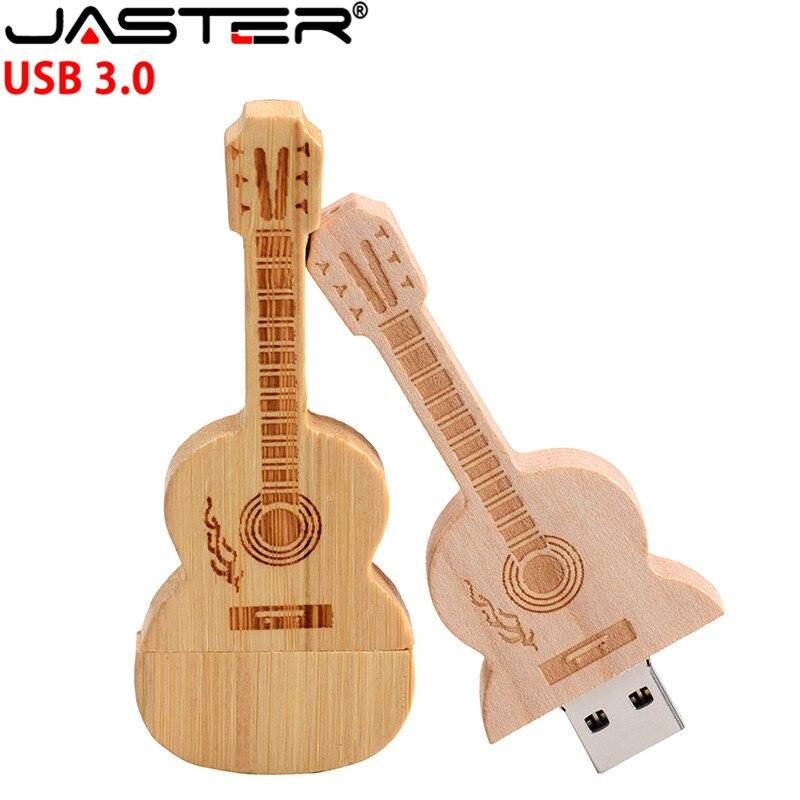 JASTER logotipo personalizado de madera guitarra pendrive usb 2,0 flash memory stick 2GB 4GB 8GB 16GB 32GB 64GB de metal llavero regalo