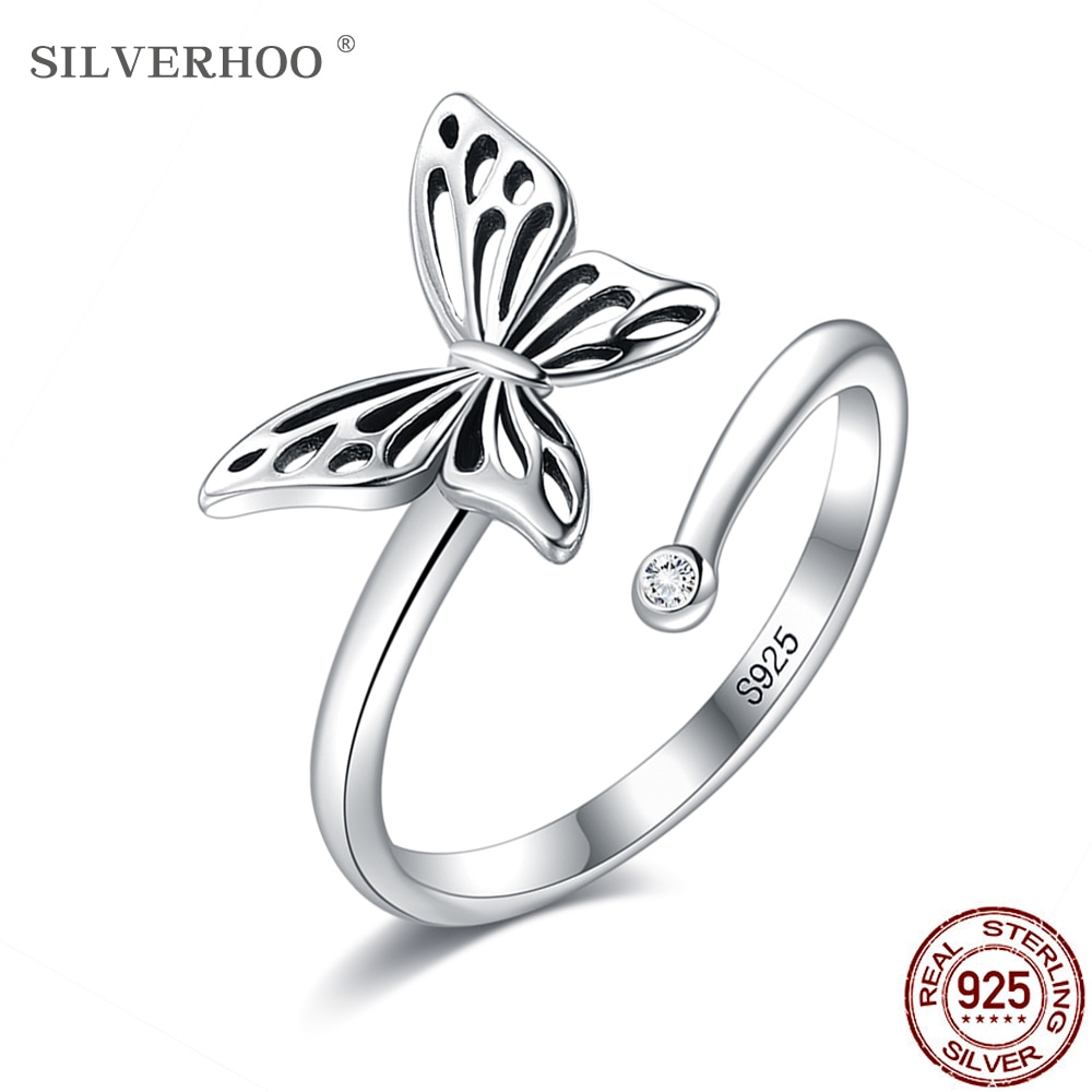 SILVERHOO Sterling Silver 925 Ring Hollow Fly Butterfly Incredible Adjustable Rings For Women Birthday Jewelry Gift To Friend