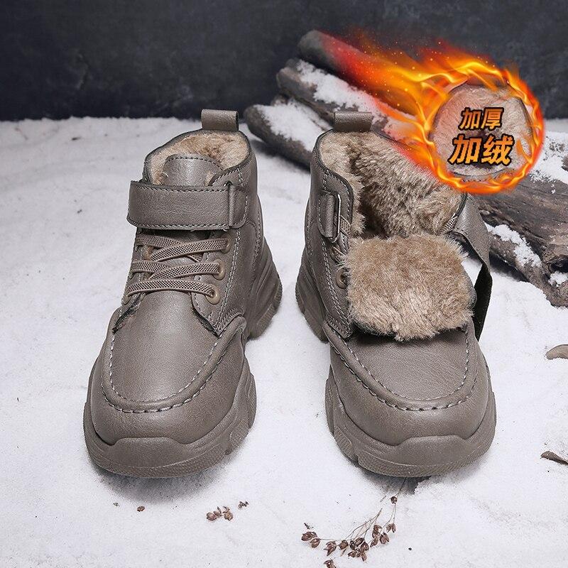 Children Casual Shoes Girls Boys Non-slip Warm Fur Snow Boots Winter Sneakers Kids Outdoor Footwear Padded Boot Waterproof