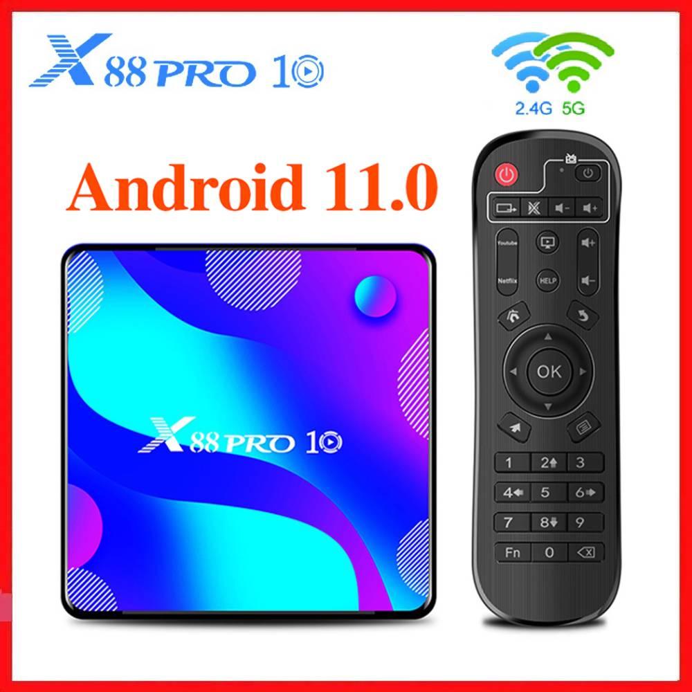 2.4G/5.8G Dual WFi Smart Android 11 TV Box RK3318 TVBOX Android 10.0 Media Player 4GB RAM 128GB ROM Youtube 4K Set Top Box