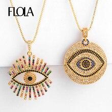 FLOLA-collier avec des yeux grecs remplis dor, pendentif en mauvais œil pour femmes, CZ arc-en-ciel, bijou turco, nkep47